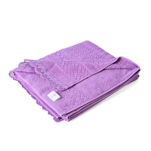 100% Cotton Set of 2 - Light Purple Colour Towel with Low Twist Jacquard Border and Lace Large (Size 140x65 Cm) and Small (Size 70x50 Cm)