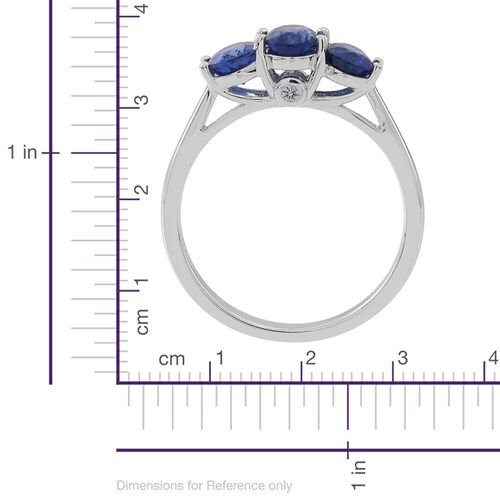 ILIANA 18K W Gold AAA Ceylon Blue Sapphire (Ovl), Diamond (SI/G-H) Ring 2.000 Ct.