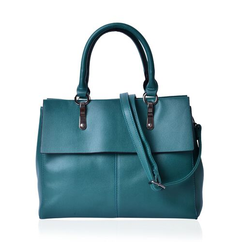 Green Colour Tote Bag With Adjustable and Removable Shoulder Strap (Size 33.5x27x13.5 Cm)