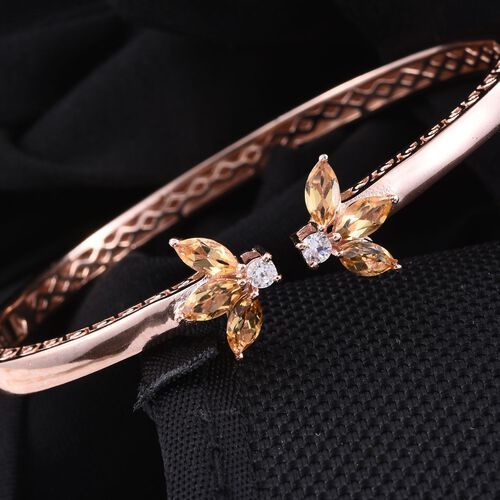 Citrine (Mrq), Natural Cambodian Zircon Open Bangle (Size 7.5) in ION Plated 18K Rose Gold Bond 2.500 Ct.