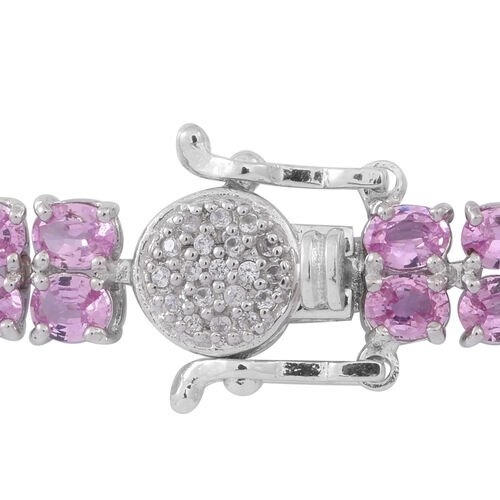AAA Pink Sapphire (Ovl), Natural White Cambodian Zircon Bracelet (Size 8) in Rhodium Plated Sterling Silver 16.750 Ct.