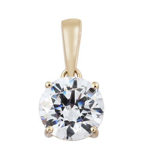 J Francis - 9K Yellow Gold (Rnd) Solitaire Pendant and Stud Earrings (with Push Back) Made with SWAROVSKI ZIRCONIA