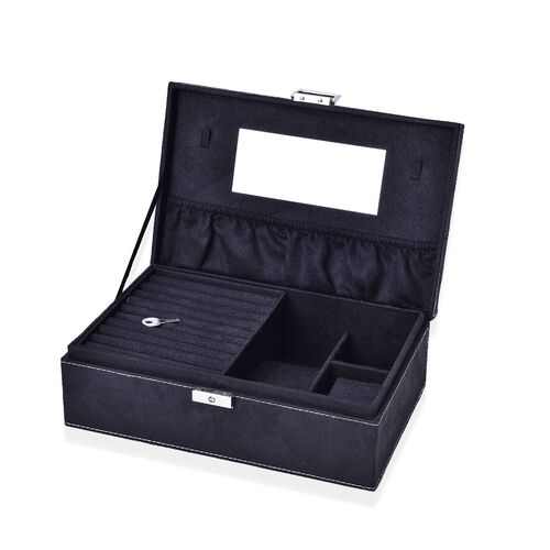 Black Colour Velvet Jewellery Box with Mirror Inside (Size 25X16X8.5 Cm)