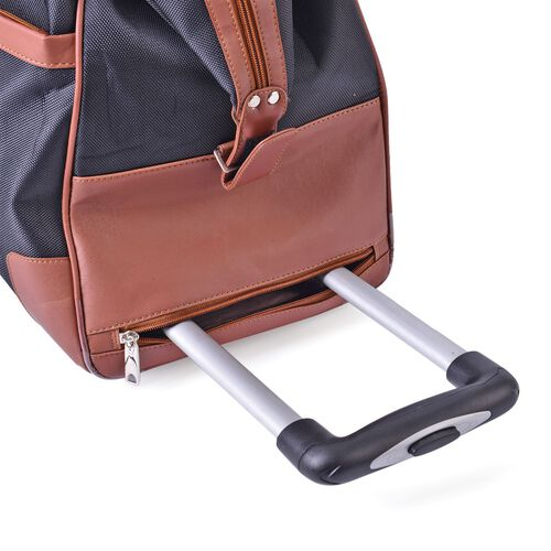 Water Resistant Black Travel Trolley With Wheels and Adjustable Handle (Size 50x35x25 Cm)