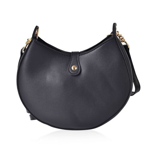 Black Colour Crescent Moon Shaped Crossbody Bag with Adjustable and Removable Shoulder Strap (Size 24X18X5 Cm)