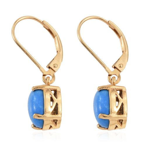 Ceruleite (Ovl) Lever Back Earrings in 14K Gold Overlay Sterling Silver 2.750 Ct.