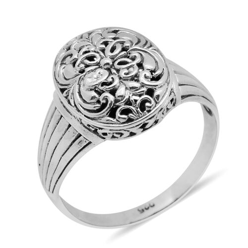 Royal Bali Collection Sterling Silver Filigree Ring, Silver wt 5.10 Gms.