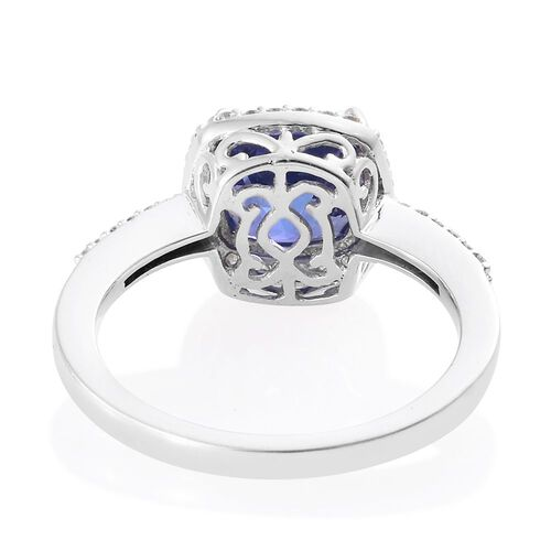 ILIANA 18K White Gold 3.45 Carat AAA Tanzanite with Diamond (SI/G-H) Ring