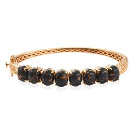 Mojave Black Turquoise (Ovl) Bangle (Size 7.5) in 14K Gold Overlay Sterling Silver 18.000 Ct.