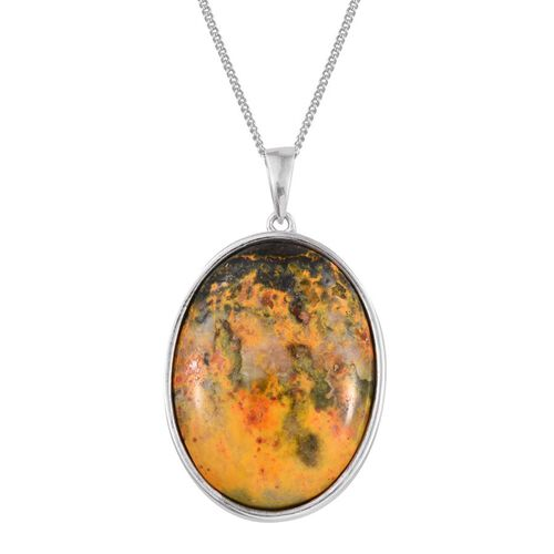 Bumble Bee Jasper (Ovl) Pendant with Chain in Platinum Overlay Sterling Silver 35.000 Ct.