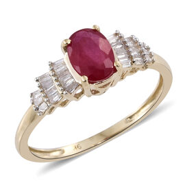 Super Auction- 9K Yellow Gold AA African Ruby (Ovl 1.15 Ct), Diamond (G-H) Ring 1.350 Ct.