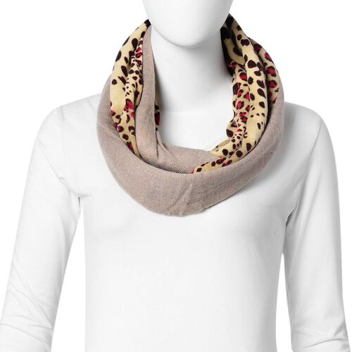 Khaki and Light Yellow Colour Leopard Pattern Infinity Scarf (Size 74x26 Cm)