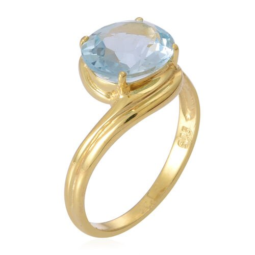 Sky Blue Topaz (Ovl) Solitaire Ring in Yellow Gold Overlay Sterling Silver 4.500 Ct.