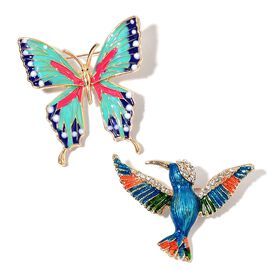 Set of 2 - AAA White Austrian Crystal Enameled Butterfly and Flying Eagle Brooch or Pendant With Chain (Size 20) in ION Plated Yellow Stainless Steel