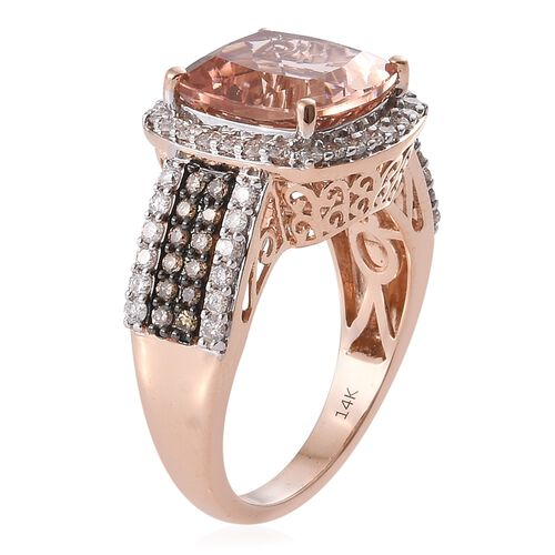 New York Collection-14K R Gold AAA Marropino Morganite (Cush 7.12 Ct), Natural Champagne and White Diamond (I2) Ring 8.250 Ct. Gold Wt 8.21 Gms
