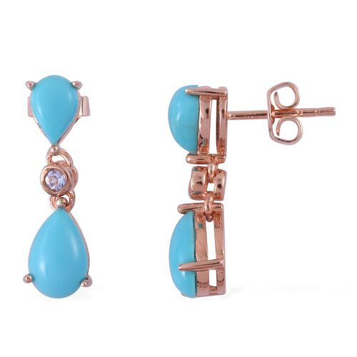 Arizona Sleeping Beauty Turquoise (Pear), Tanzanite Earrings (with Push Back) in Rose Gold Overlay Sterling Silver 2.830 Ct.
