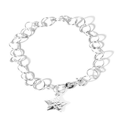 Designer Inspired - Sterling Silver Open Circle Bracelet (Size 7-8) with Star Charm