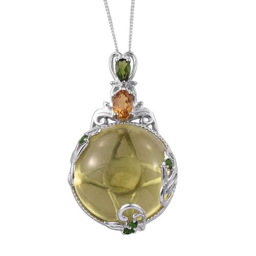 GP Brazilian Green Gold Quartz (Rnd 31.00 Ct), Citrine, Russian Diopside and Kanchanaburi Blue Sapphire Pendant With Chain in Platinum Overlay Sterling Silver 32.000 Ct.