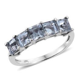 Espirito Santo Aquamarine (Sqr) 5 Stone Ring in Platinum Overlay Sterling Silver 2.250 Ct.