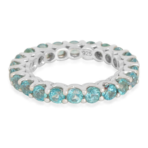 Signity Paraiba Topaz (Rnd) Full Eternity Ring in Platinum Overlay Sterling Silver 3.250 Ct.