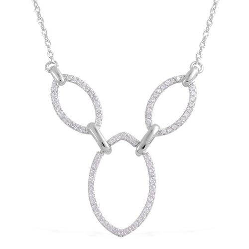AAA Simulated White Diamond Necklace (Size 18) in Sterling Silver