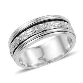 Vicenza Collection - Designer Inspired Sterling Silver Spinner Band Ring, Silver Wt. 5.00 Gms.