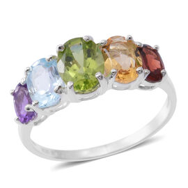 Multi GemShow Preview Auction- Hebei Peridot (Ovl 8x6 mm 1.34 Ct), Sky Blue Topaz and Multi Gemstone 5 Stone Ring in Sterling Silver 4.00 Ct.