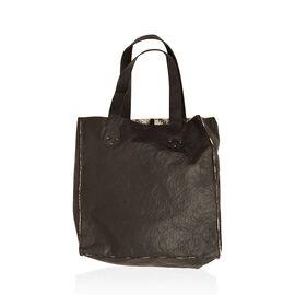 Linea Black Genuine Leather With 100% Cotton Floral Lace Bonding Reversible Tote (Size 34x34x8 Cm)