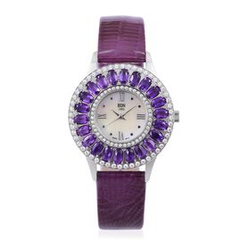 EON 1962 Swiss Movement MOP Dial Amethyst (4.54 Ct) and Simulated White Diamond Studded 3ATM Water Resistant Watch with Purple Colour Leather Strap