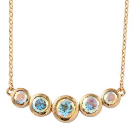 Mercury Mystic Topaz (Rnd) Necklace (Size 18) in 14K Gold Overlay Sterling Silver 2.750 Ct.