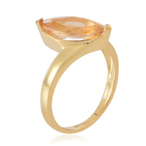AAA Citrine (Mrq) Solitaire Ring in Yellow Gold Overlay Sterling Silver 1.750 Ct.