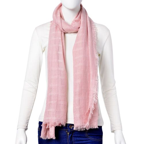 Pink Colour Stripes Pattern Scarf with Fringes (Size 184X93 Cm)
