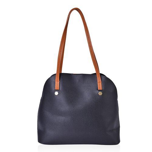 Set of 2 - Multi Colour 3D Flowers Embellished Black Colour Handbag (Size 34X29X15 Cm) and Pouch (Size 27X20X7 Cm)