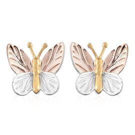 Designer Inspired-Tri Colour Sterling Silver Butterfly Earrings (with Push Back)