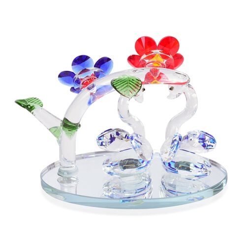 Home Decor - Red, Yellow and Multi Colour Austrian Crystal Flowers and Swan with Blue Feather Figurine (Size 14X13 Cm)