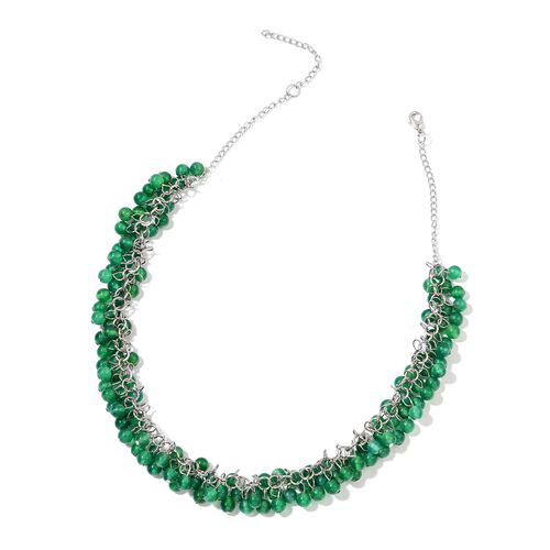 Green Agate Necklace (Size 18 with 2 inch Extender) and Hook Earrings in Silver Tone 335.000 Ct.