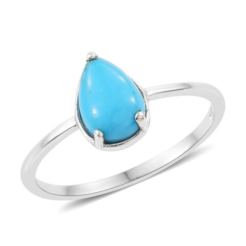 Arizona Sleeping Beauty Turquoise (Pear) Solitaire Ring in Platinum Overlay Sterling Silver 1.000 Ct.