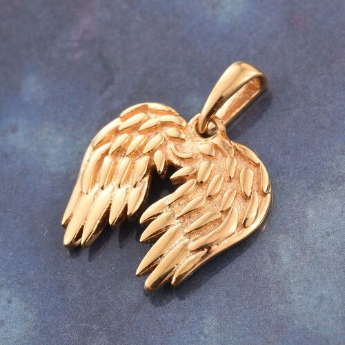 14K Gold Overlay Sterling Silver Angel Wing Pendant, Silver Wt 1.74 gms