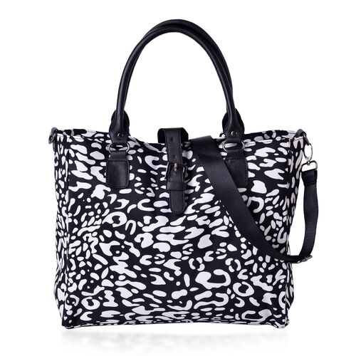 City Classic Light Weight Water Resistant Black and White Colour Cobblestone Pattern Tote Bag with Adjustable Shoulder Strap (Size 34x28x12 Cm)