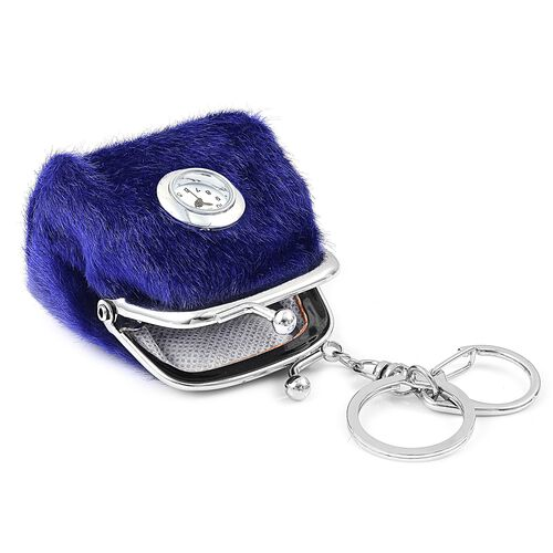 Set of 2 - STRADA Japanese Movement White Dial Blue Colour Coin Purse Design Water Resistant Key Chain Watch in Silver Tone