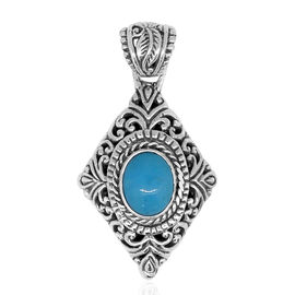 Royal Bali Collection Arizona Sleeping Beauty Turquoise (Ovl 9x7 mm) Pendant in Sterling Silver. Silver wt 5.00 Gms.