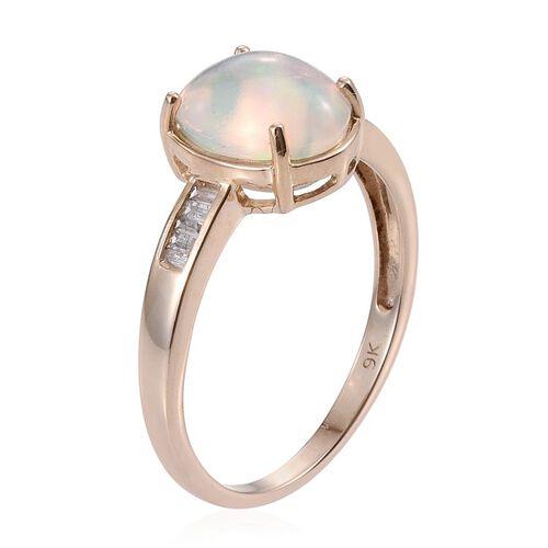 9K Y Gold Ethiopian Welo Opal (Ovl 2.10 Ct), Diamond Ring 2.250 Ct.