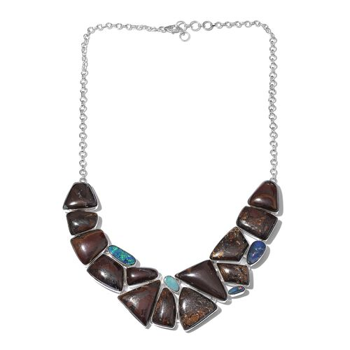 Boulder Opal Rock and Opal Double Necklace (Size 18 with 1 inch Extender) in Sterling Silver 281.300 Ct.