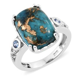 New Arrival - Mojave Blue Turquoise (Cush 14x10mm), Signity Pariaba Topaz Ring in Platinum Overlay Sterling Silver 7.250 Ct.