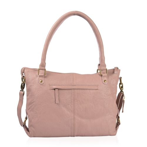 Genuine Leather RFID Blocker Mauve Colour Handbag with External Zipper Pocket and Adjustable and Removable Shoulder Strap (Size 36X32X8 Cm)