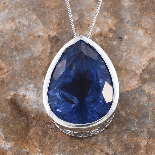 Colour Change Fluorite (Pear) Pendant With Chain in Platinum Overlay Sterling Silver 15.250 Ct.
