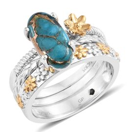 GP Mojave Blue Turquoise (Ovl), Kanchanaburi Blue Sapphire Ring in Platinum and Yellow Gold Overlay Sterling Silver 3.000 Ct. Silver wt 8.17 Gms.