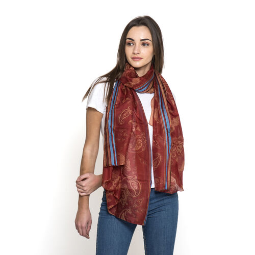 100% Mulberry Silk Red, Burgundy, Blue and Multi Colour Paisley Pattern Pareo (Size 180x100 Cm)