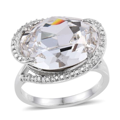 J Francis Crystal from Swarovski - White Crystal (Ovl), Diamond Ring  in ION Plated Platinum Bond