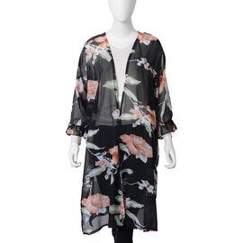 Black, Orange, Green and Multi Colour Flower Pattern Kimono with Lotus Leaf Sleeve (Size 100x85 Cm)